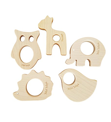Natural Maple Wood Baby Teething relief Toys Forest Animals Teether set, Neutral Unisex holistic baby Shower gift (5pk deer,owl, eleph, hghog,dove)