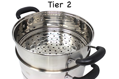 CONCORD 3 Tier Premium Stainless Steel Steamer Set (32 CM) by Concord Cookware (Image #4)