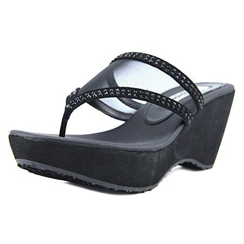 Nina Women's Dalyne Wedge Flip Flop, Ym-a-True Black, 8 M US