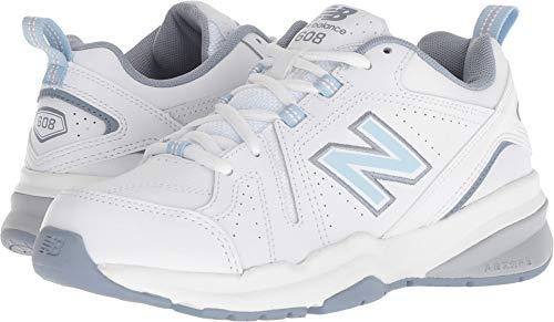 New Balance Women's 608v5 Casual Comfort Cross Trainer, White/Light Blue, 5.5 W US