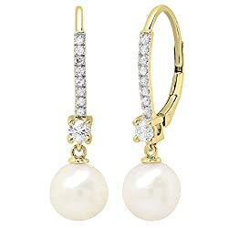 Round White Freshwater Pearls & Diamond Drop Earrings