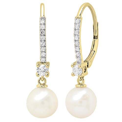 (Dazzlingrock Collection 10K 8 MM Each Round White Freshwater Pearls & Diamond Ladies Drop Earrings, Yellow Gold )