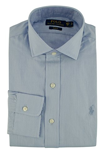 Polo Ralph Lauren Men's Slim Fit Hairline Stripe Dress Shirt-BluW-18(46) -