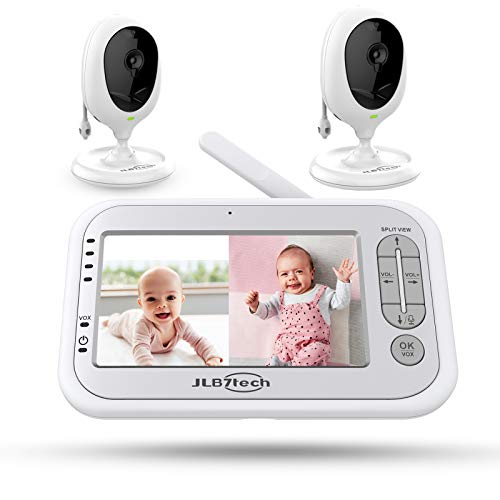 Baby-Monitor-JLB7tech-5-Split-ScreenVideo-Baby-Monitor-with-2-Cameras-and-AudioNight-VisionTwo-Way-TalkLong-RangeFeeding-TimeLullabiesTemperature-DetectionPower-SavingVoxZoom-in
