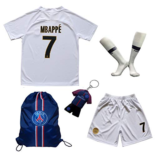 LES TRICOT 2018 2019 Paris Away  7 MBAPPE Football Futbol Soccer Kids  Jersey Shorts Socks Set Youth Sizes (White 059df64fc