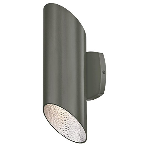 Westinghouse Lighting 6348800 Skyline Two LED Up and Down Light Outdoor Wall Fixture, Polished Graphite Finish with Hammered Silver Interior (Skyline Outdoor Products)