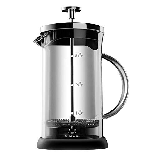 ALIXIN – 10022 Máquina de café de prensa francesa, filtro de micro malla para café o café molido, transparente de vidrio…