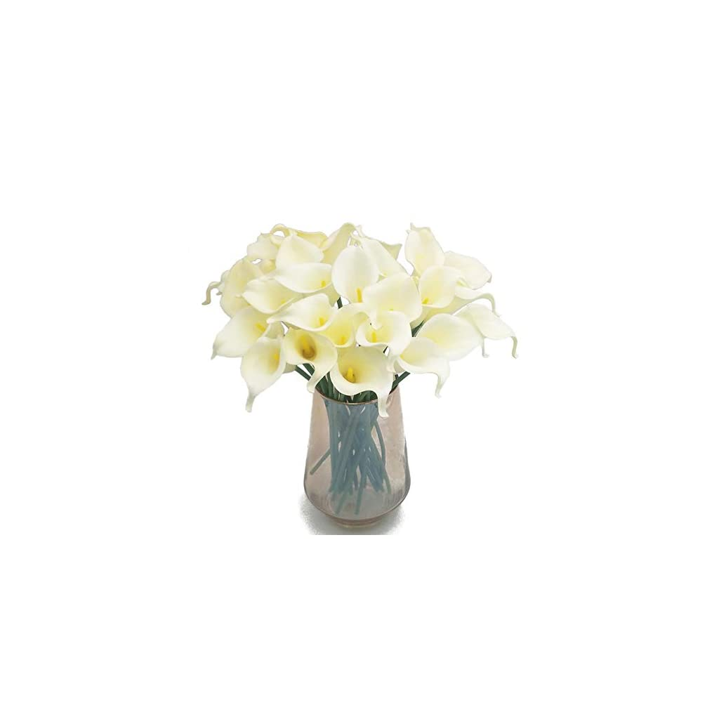 """cn-Knight Artificial Flower 24pcs 14"""" Calla Lily Faux PU Flower Real-Touch Arum Lily for Wedding Bridal Bouquet Bridesmaid Home Décor Office Baby Shower Centerpiece Reception Prop(Ivory)"""