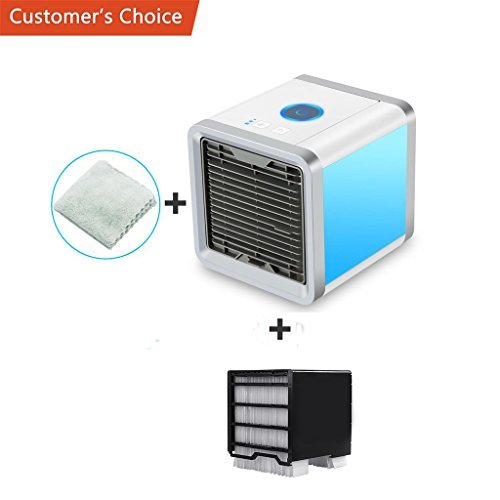 Yi-gog Arctic Air Personal Space Cooler, 3 in 1 Mini USB Personal Space Air Cooler, Humidifier, Desktop Cooling Fan with 3 Speeds and 7 Colors LED Night Light for Office (Arctic Outdoor Tabletop)