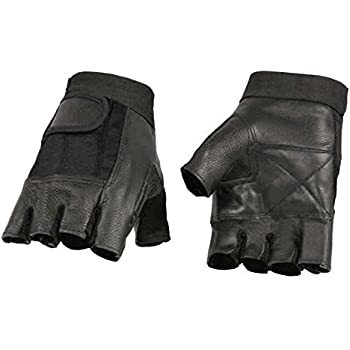 Milwaukee Leather Men's Leather Mesh Combo Fingerless Gloves, Black SH217 (L)