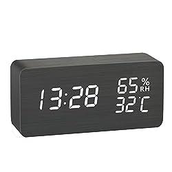 Wooden Digital Alarm Clock, LOREEN Wooden Smart alarm clock,Displays Time Date Temperature and Humidity(Rectangle)