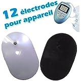 Lot de 12 Electrodes Pads pour Appareil Electrostimulation 8 Programmes WELLYS par indiscount ®