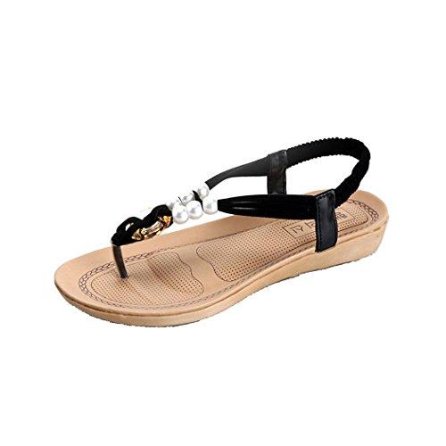 Sandales Dété, Inkach Femmes Plates Chaussures Perlées Loisirs Dame Bohème Sandales Peep-toe Flip Flops Noir