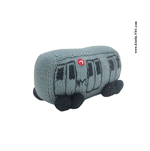 (Estella Baby Rattle Toy in Shape of a Subway Train, Hand-Knit Soft Infant Toy, Grey)