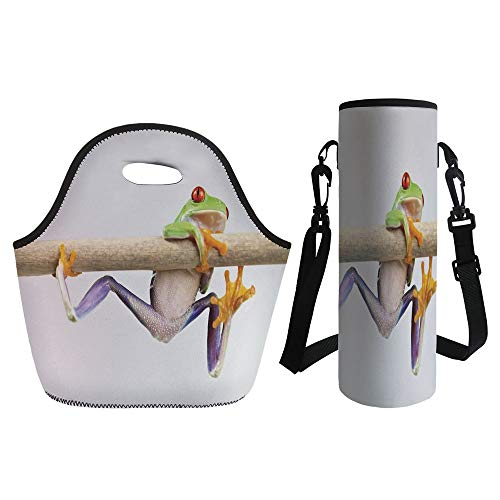 3D Print Neoprene lunch Bag with Kit Neoprene Bottle Cover,Animal Decor,Funny Red Eyed Frog Hanging on the Tree Branch Wild Life Nature Animal Art Photo,Cream Purple Green,for Adults Kids