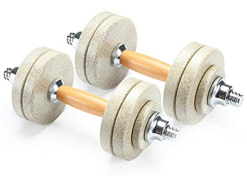 CyclingDeal Stone Coated Steel Wood Handle Adjustable Dumbbell Fitness Workout 20kg ()