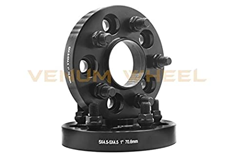 Pair of 2015-2018 Mustang GT 5.0 5x4.5 Black Hubcentric Wheel Spacer Adapter M14x1.5 70.5mm HUB+ Free Thread (Gt 5 Wheel)