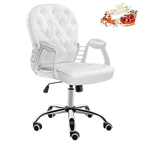 JL Comfurni Home Office Desk Chair Faux Leather Armchair Swivel Adjustable Chair Computer Girls Chairs Elegant Reception Chairs, Cream White