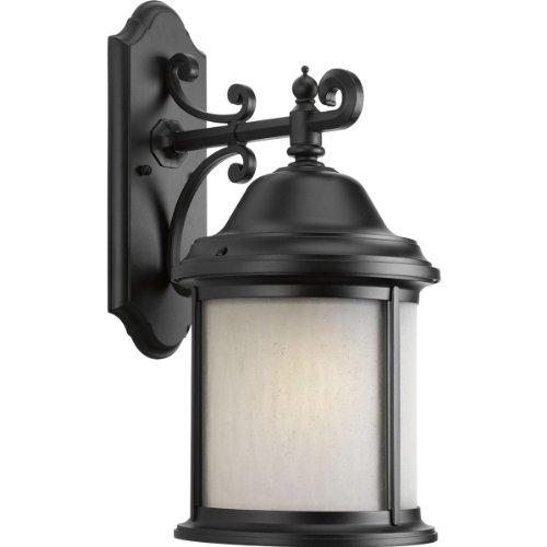 Progress Lighting P5876-31WB 1-Light Wall Lantern with Bulb Water Seeded Glass Curved Panels