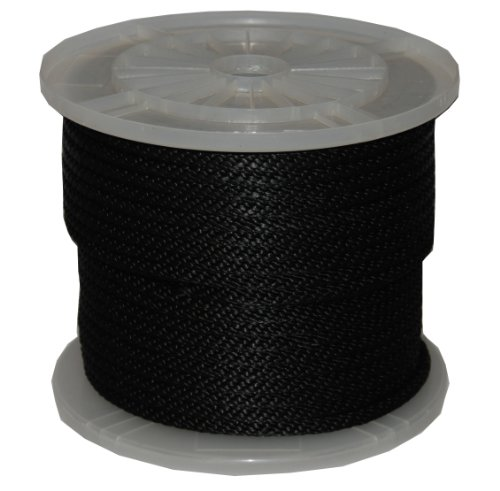 T.W Evans Cordage 98324 3/8-Inch by 300-Feet Solid Braid Propylene Multifilament Derby Rope, Black