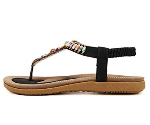 Scarpe YCMDM delle donne di modo 2017 nuovo rilievo femmina sandali della Boemia della spiaggia scarpe piane , black , 38