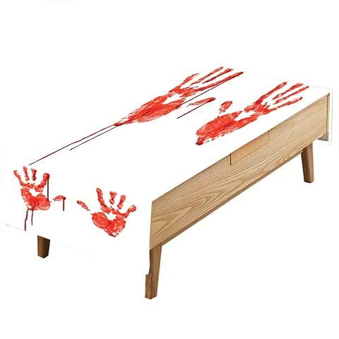 PINAFORE Waterproof SpillProof Tablecloth Like Wanting Help Halloween Horror Scary Spooky Flowing Blood Themed Print Red White Hotel Parties Out Dinners W54 x L90 INCH