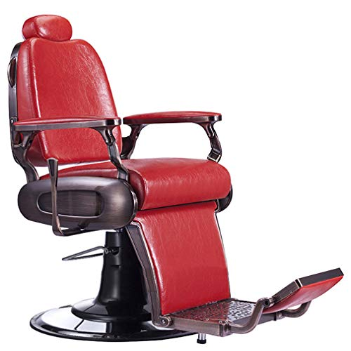 Barber Chair DIOE, Hydraulic Recline, Salon Chair,Tattoo Chair,Heavy Duty Barber Salon Equipment (Green and Red)