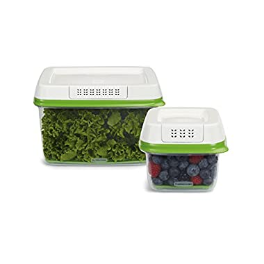 Rubbermaid 2 Piece FreshWorks Produce Saver Food Storage Container Set, Small/Large, Green
