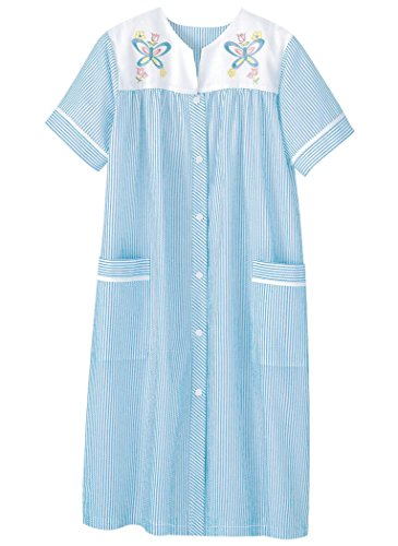 AmeriMark Embroidered Stripe Duster Robe Plus Size Blue