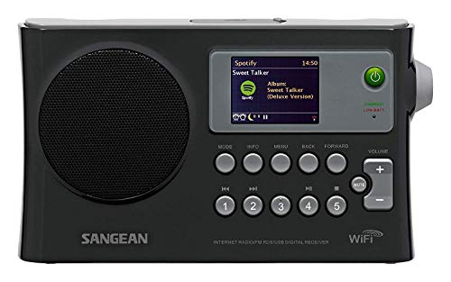 - Sangean All in One Compact Portable Digital WiFi Internet Radio with Built-in Speaker, Earphone Jack, Dual Alarm Clock, Plus 6ft Aux Cable to Connect Any Ipod, Iphone or Mp3 Digital Audio Player
