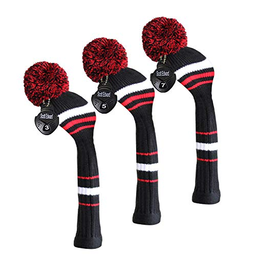 Scott Edward 3 Pieces Packed, Golf Fairway Wood Head Cover, Black Red White Stripes Style, Interchangeable Number Tags