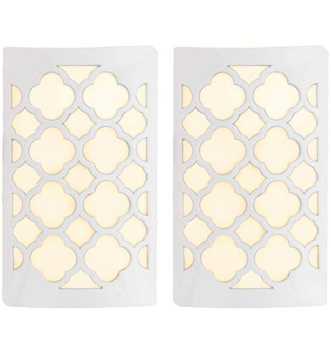 Unused Light - WESTEK Decorative Plug in Night Light by Amertac - LED Light Cover with Auto Dusk Dawn Sensor - Ideal for The Hallway, Bedroom, Bathroom, Warm Light - Hides Unused Outlet Plugs - White Finish, 2 Pack