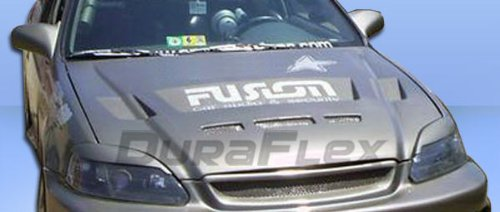 Duraflex 105541 1999-2000 Honda Civic Duraflex Predator Hood - 1 Piece - Predator Fiberglass Hood
