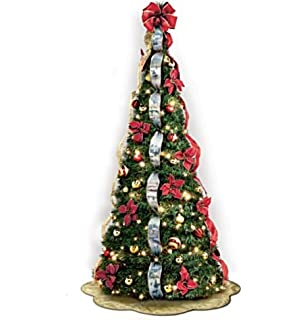 the bradford exchange thomas kinkade christmas tree pre lit pull up with poinsettia - Pop Up Pre Lit And Decorated Led Christmas Tree