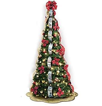 The Bradford Exchange Thomas Kinkade Christmas Tree Pre Lit Pull Up With Poinsettia And Ribbon Decoration 6