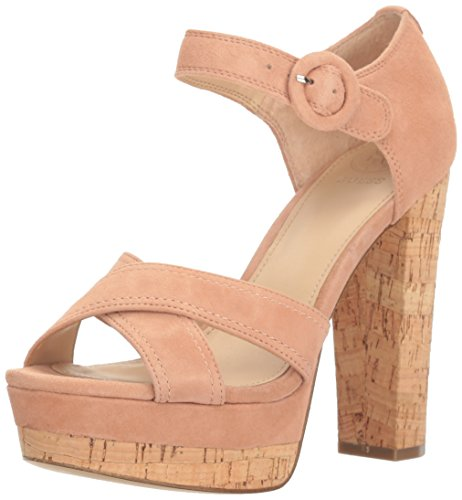 Guess Women's Parris Heeled Sandal, Pink, 6.5 Medium US (Guess Strap Sandals Ankle)