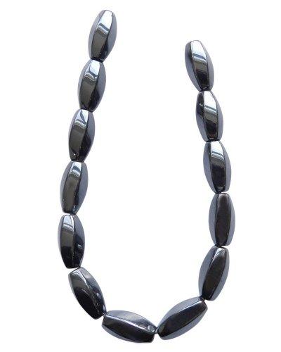 [Tennessee Crafts 1210 Semi Precious Gunmetal Hematite Twisted Oval Beads, 8 by 16mm] (Hematite Oval Bracelet)