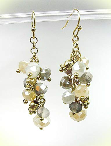 Artisanal Antique Gold Smoky Gray Creme Crystals Earrings For Women Set 952P