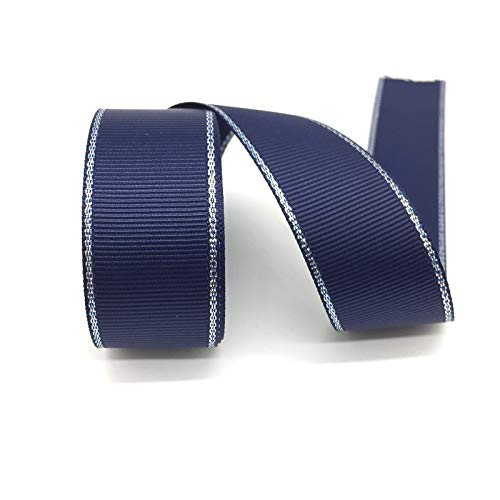 5Yards 1inch Silver Metallic Ribbon Edge-hRibbon for Crafts-Ribbon Gift Wrap-Ribbon for Wedding-Ribbons for Decoration-Ribbons for Dressmaking-DIY Mini Satin Ribbon Bows-Sewing Accessories (Navy Blue) (Silver Metallic Resin Ribbon)
