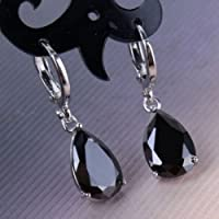 Jaywine2 Fashion 925 Silver Black Sapphire Drop Hoop Dangle Earrings Wedding Gift Jewelry