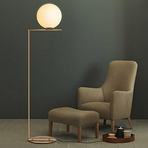 KunMai Modern White Glass Globe Shade Linear 1-Light Floor Lamp with Round Base in Brass for Bedroom Office Living Room Glass Modern Globe