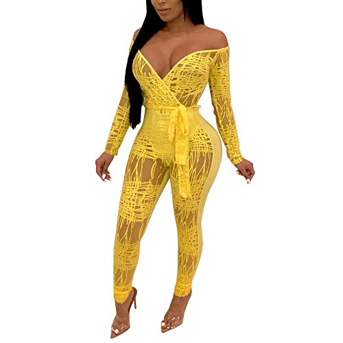 - Sexy Jumpsuits for Women Clubwear-Printed Off Shoulder V Neck Mesh Bodycon Jumpsuits Party Club Night Yellow S