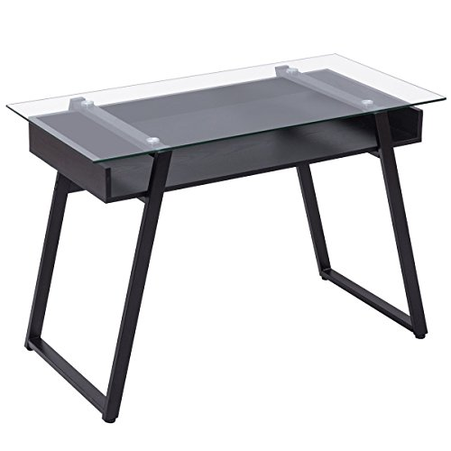 Zwan Computer Desk Glass Top Writing Study Table Black with Ebook