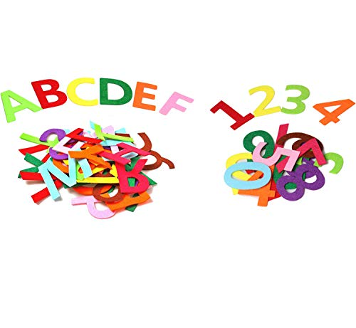 RERIVER 46 PCS Felt Alphabet Letters & Numbers ABC & 123, Full A to Z(1 Set) and 0-9 (2 Sets), 3.2-Inch Tall Assorted Colors Fabric ABCs for Christmas Birthday Party Room Decoration