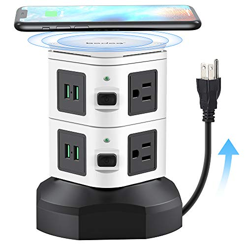 Bedee Power Strip Tower with Fast Wireless Charger, 6 AC Outlets 4 USB Ports Surge Protector