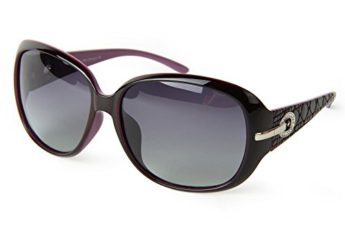 corciova Classic Women's Shades Oversized Polarized Sunglasses UV400 Tyrian Purple Frame Grey - Gafas Mujer 2016