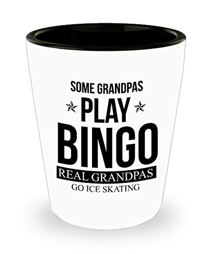 Best Shot Glass Coffee Mug-Skating Gifts Ideas for Men and Women. Some Grandpas Play Bingo real grandpas go Ice Skating. by Mugart
