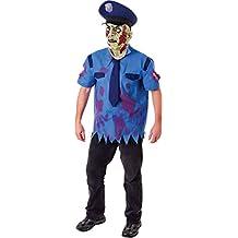 Adult Fancy Halloween Dress Party Dead Scary Zombie Killer Cop Costume & Mask