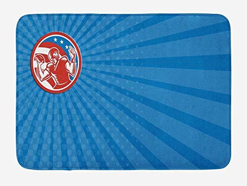 Weeosazg Sports Bath Mat, Pop Art Gridiron with Old Fashioned Visual Properties Throwing Man Print, Plush Bathroom Decor Mat with Non Slip Backing, 31.5 X 19.7 Inches, Orange Blue Azure Blue -
