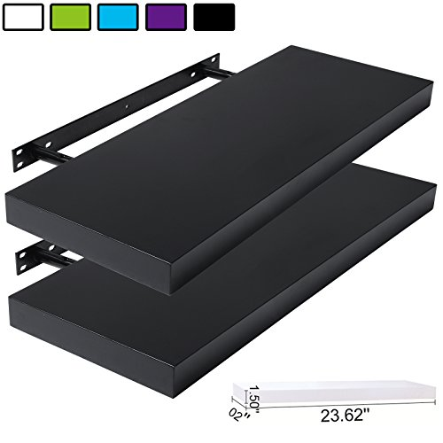 WOLTU Set of 2 Floating Wall Shelves MDF Wall Mount Wood Ledge Display and Organizer Rack with Hidden Brackets,23.62